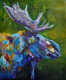 moose painting by artist Linda Israel