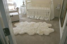 White Sheepskin Rug Nursery