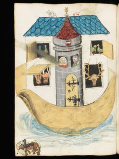 Ark with stone tower. Luzern, Zentral- und Hochschulbibliothek, Msc. 45. fol., p. 42v – Nicholas of Lira, Commentary on the Bible