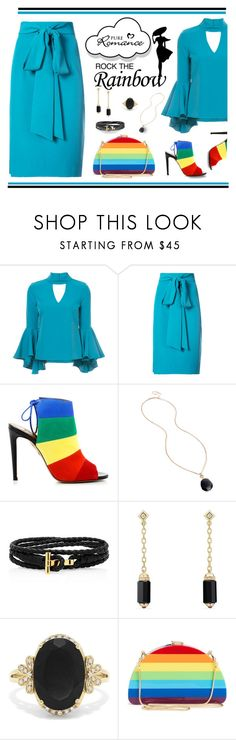 """""""Rock the rainbow"""" by outfitsloveyou ❤ liked on Polyvore featuring Milly, Aquazzura, Nuage, Kenneth Cole, David Yurman and Effy Jewelry"""