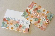 Set of Four Floral Phrase Greeting Cards by StripedCatStudio, $14.00