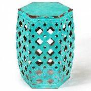 Hexagonal Pressed Metal Stool Aqua