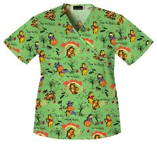 Winnie The Pooh Scrub Top: Not So Scary Pooh