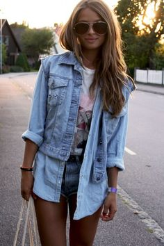 denim on denim and the hair is perfection, rather jeans than the shorts.