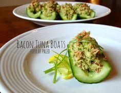 Bacon Tuna Boats -- mayo free.  Avocado in lieu of mayo brings this fresh tuna salad together.