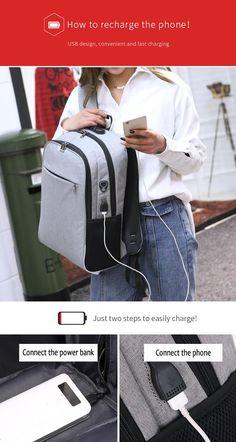 WANGKA USB Charging Laptop Backpack 15.6 inch Anti Theft Women Men Bags 02de324879