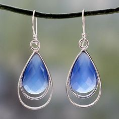 Blue chalcedony dangle earrings, 'Delhi Glam' - Artisan Designed Blue Chalcedony Hook Earrings from India