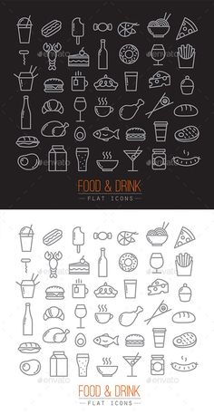 Buy Flat Food Icons by on GraphicRiver. Flat icons on food theme made by flat lines on white and chalkboard background.