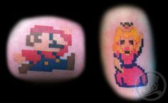 Pixel Mario and Princess hanging out together. Video Game Tattoo
