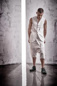 Off-White Mens Vest / Boiled Linen Sleeveless Jacket / Extravagant Mens Clothing / Handcrafted Tailored Vest / Asymmetric Waistcoat by POWHA White Vest Mens, Off White Mens, Heather Brown, Dope Outfits, Jean Outfits, Hipster Fashion, Mens Fashion, Shirt Collar Styles, Style Masculin