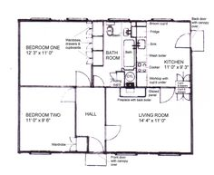 The plan of our prefab. The front bedroom was mine. It never seemed this tiny! There were fitted cupboards in the main bedroom, a built-in fridge in the kitchen, all unheard of before. The fireplace heated a back boiler for hot water and there was an airing cupboard. Luxury!