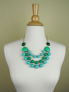 www.facebook.com/FashionCupcake  Aqua Beaded Statement Necklace - $25.00 : FashionCupcake, Designer Clothing, Accessories, and Gifts