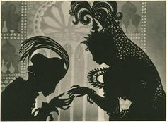 """Lotte Reiniger - Prince Achmed again. """"The entire film is animated using the silhouette technique, which employs movable cardboard and metal cutouts posed in front of illuminated sheets of glass."""""""