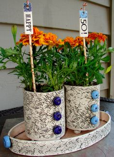 """Two Plant Pots with Matching Tray and Plant Tags. So Cute! Customize for your occasion! etsy.com and search """"playfularts"""""""