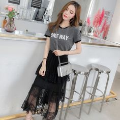 ea36af16cf Women's Sets · 2019 New Spring Womans Casual Sets Fashion T-shirt + Layed  Mesh Skirts Suits for