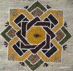 pulses rangoli design by jayamohan - 14 Rangoli Designs Flower, Rangoli Border Designs, Colorful Rangoli Designs, Rangoli Designs Diwali, Kolam Rangoli, Beautiful Rangoli Designs, Kolam Designs, Mosaic Designs, Rangoli Borders