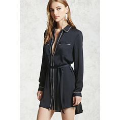 Forever21 Satin Belted Shirt Dress (105 RON) ❤ liked on Polyvore featuring dresses, long-sleeve maxi dresses, long shirt dress, satin shirt dress, forever 21 dresses and long-sleeve shirt dresses