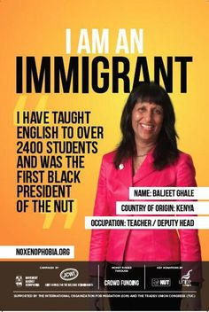 """The """"I am an immigrant"""" campaign was launched by Movement Against Xenophobia, part of the Joint Council for the Welfare of Immigrants"""