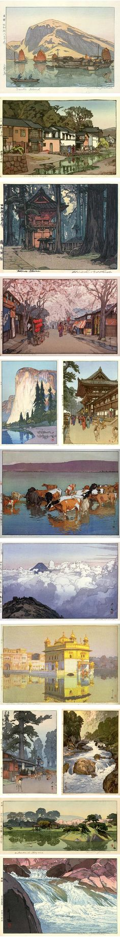 Hiroshi Yoshida | Early 20th Century painter and printmaker Hiroshi Yoshida is known in his native Japan as a Western style artist. Yoshida had superb control over atmospheric perspective and excelled at the depiction of light and reflections on the surface of water.
