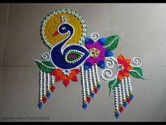 colourful peacock rangoli design for diwali images Rangoli Designs Peacock, Easy Rangoli Designs Diwali, Rangoli Designs Latest, Free Hand Rangoli Design, Small Rangoli Design, Rangoli Patterns, Colorful Rangoli Designs, Rangoli Ideas, Rangoli Designs Images