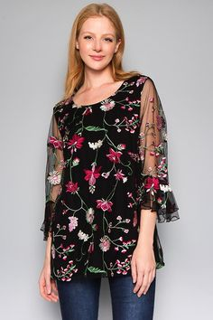 FashionGo is an online wholesale clothing marketplace where hundreds of manufacturers and wholesalers provide clothing, apparel, accessories, shoes, handbags and a variety of fashion related items. Floral Embroidery, Embroidery Patterns, Tie Blouse, Layered Tops, Wholesale Clothing, Black Tops, Floral Tops, Bell Sleeves, Cool Style