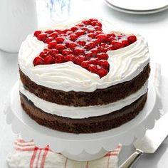 Chocolate Cherry Layer Cake Recipe from Taste of Home -- shared by Flo Burtnett of Gage, Oklahoma