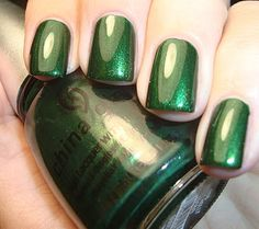 "China Glaze ""Jolly Holly"" for perfect St. Pat's nails (but add OPI Fresh Frog of Bell Air as a green and sliver glittery topcoat)"