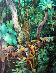 """Olímpia Reis Resque: Os macaquinhos de cheiro """"...Por fim, quando o barulho que vinha em minha direção estava bem perto, ouvi também o chilro agudo e estridente com o qual todos os nossos macaquinhos se distinguem,..."""". Texto da Dra. Emília Snethlage (1868-1929) com ilustração em Art-Tropical. www.pinterest.com. Leia mais em olimpiareisresque.blogspot.com."""