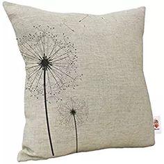Nunubee 18 x 18 Linen Cushion Cover Pillowcase Throw Pillow Case Home Decoration Dandelion