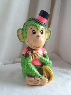 Monkey Piggy Bank / Vintage from 1960s / NEON by FromtheLandofOz, $12.00
