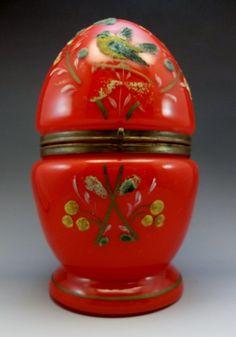 Antique Coralene Bohemian Glass Egg Decanter Red Birds