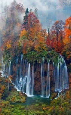 Breath by landscape photographer Andrea Pozzi on Waterfall and autumn colors in Plitvice National Park, Croatia. All Nature, Amazing Nature, Beautiful Waterfalls, Beautiful Landscapes, Natural Waterfalls, Places To Travel, Places To See, Beautiful World, Beautiful Places