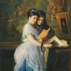 Konstantin Makovsky, Two Ladies Looking at Prints.