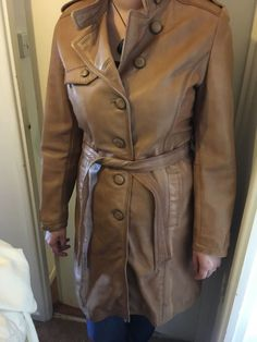 Lakeland Womens Tan Distressed Leather Trench Coat: Size 16   eBay