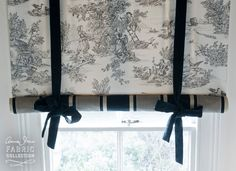 Swedish blind created with Charcoal Pastorale Toile & Paris Noir from the Chalk Paint® decorative paint by Annie Sloan. Photo by Christopher Drake