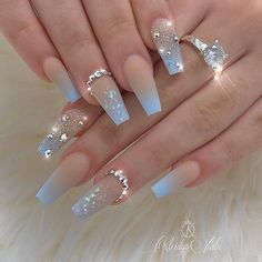 20 Elegant Acrylic Blue Nails Design For Coffin and Stiletto Nails - Easy Nail Designs 💅 Blue Ombre Nails, Blue Acrylic Nails, Summer Acrylic Nails, Brown Nails, Summer Nails, Ballerina Acrylic Nails, Ballerina Nails Shape, Wedding Acrylic Nails, Blue Glitter Nails