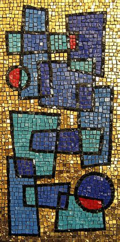 Mosaic by Merribeth O'Keefe. Love the thick dark line around the shapes.