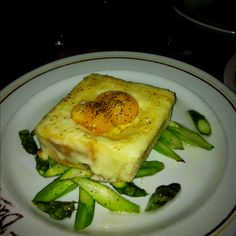 Truffle egg toast with fontina and asparagus at Davanti Enoteca in Chicago.