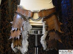 Leather leaf tasset upper leg armor spring or by lantredurenard, $220.00