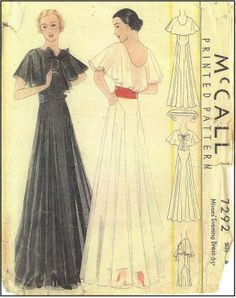 1930s Evening Gown With Capelet - Sewing Pattern - McCall #7292