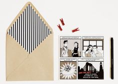 comic book save the dates // swiss cottage designs