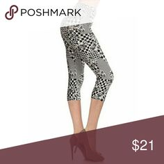 PRE ORDER NWT ORCHIDS AND HOUNDSTOOTH CAPRI LEGGIN BRAND NEW SUPER SOFT ONE SIZE FIT 2-12 COMFY Pants Leggings