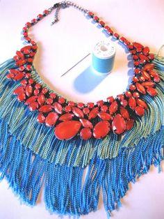coser el collar a los flecos