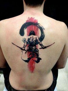 Elegant great black red samurai graphic tattoo on back
