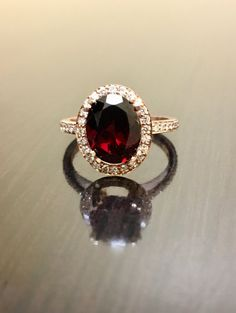 18K Rose Gold Diamond Garnet Engagement Ring  Art by DeKaraDesigns