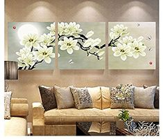 Online Cheap Wall Art Set Modern Picture Abstract Oil Painting Wall Decor Canvas Pictures For Living Room White Magnolia By Zhizihuakai Flower Painting Canvas, Flower Canvas, Oil Painting Abstract, Painting Flowers, Paper Flowers, 3 Piece Wall Art, Wall Art Sets, Canvas Wall Art, Living Room White
