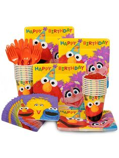 Sesame 1st Birthday Standard Kit (Serves 16)! See more birthday party planning ideas at BirthdayinaBox.com!
