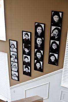 make a photo wall that looks like photobooth pics :)