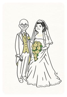 Congrats for Tocci and Q. Japan Illustration, Wedding Illustration, Simple Illustration, Character Illustration, Graphic Design Illustration, Simple Character, Character Design, Ligne Claire, Illustrations And Posters