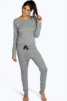 c16fb03c1e Ella Slash Neck Long Sleeve Lounge Jumpsuit Loungewear Jumpsuit